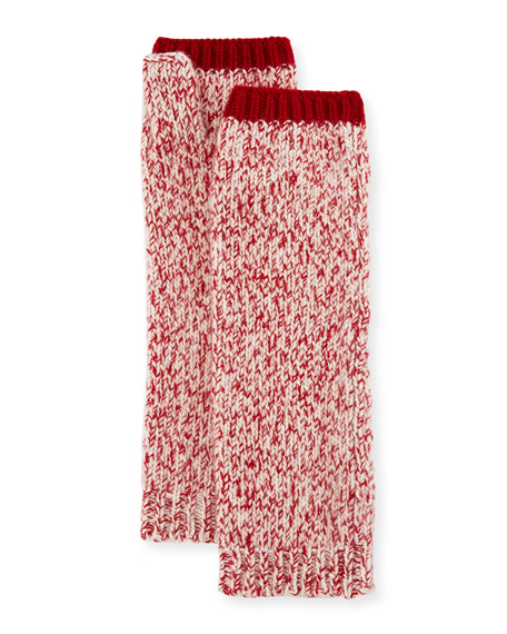 Sofia Cashmere Marled Cashmere Fingerless Gloves/Arm Warmers, Red