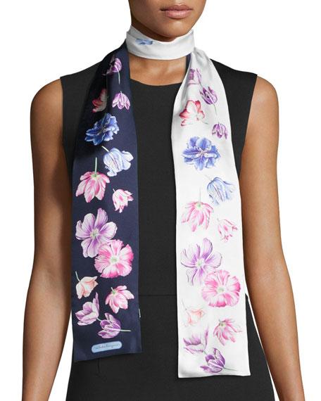 Tuli Skinny Floral Silk Scarf, Marine