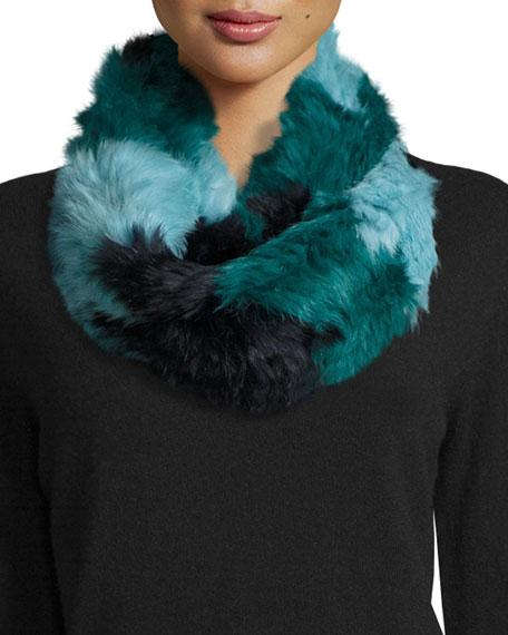 Jocelyn Chevron Sheared Rabbit Fur Infinity Scarf, Blue