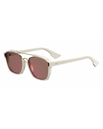 Square Abstract Sunglasses, Milk