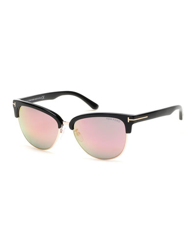 Fany Flash Semi-Rimless Cat-Eye Sunglasses, Black/Rose/Pink
