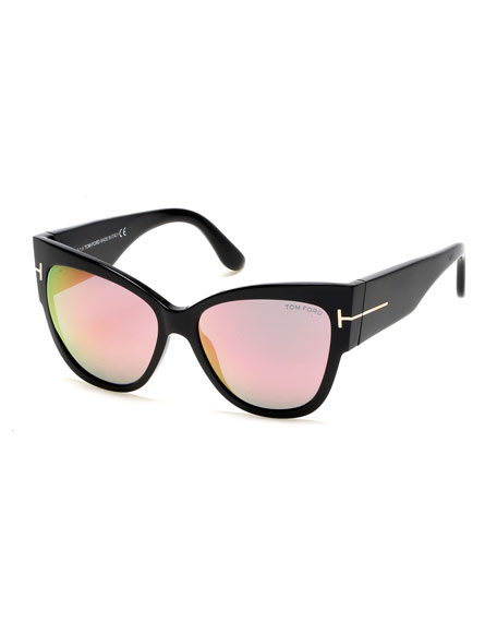Anoushka Flash Cat-Eye Sunglasses, Black/Pink
