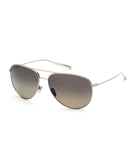 Francisco Polarized Aviator Sunglasses, Silver