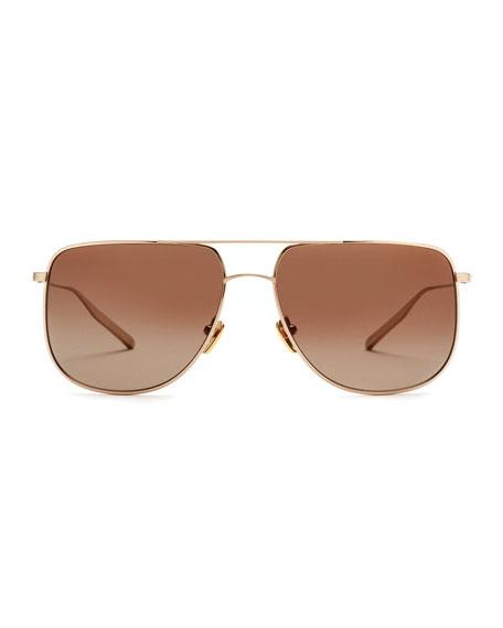 Odin Polarized Squared Aviator Sunglasses, Gold