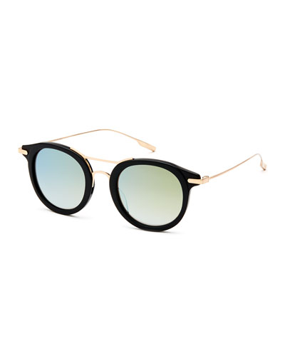 Taft Round Polarized Sunglasses, Black/Gold