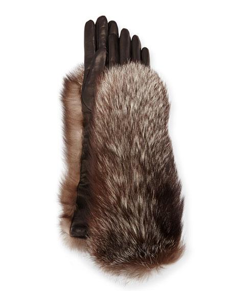 Long Leather Fox-Trim Gloves, Black/Silver Fox