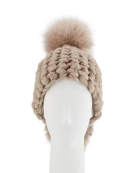 Pohawk Wool Pompom Beanie Hat, Taupe