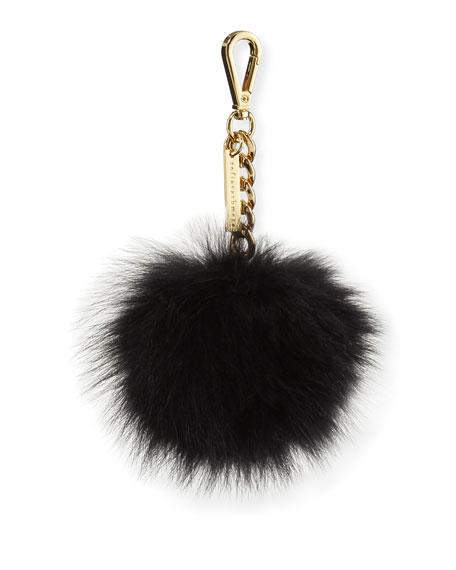 Fox Fur Pompom Bag Charm, Black