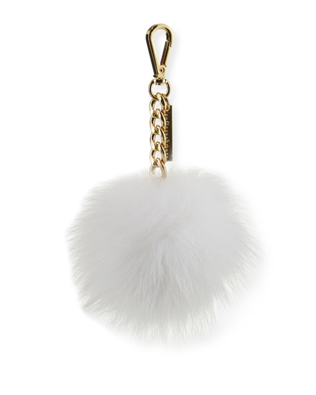 Fox Fur Pompom Bag Charm, White