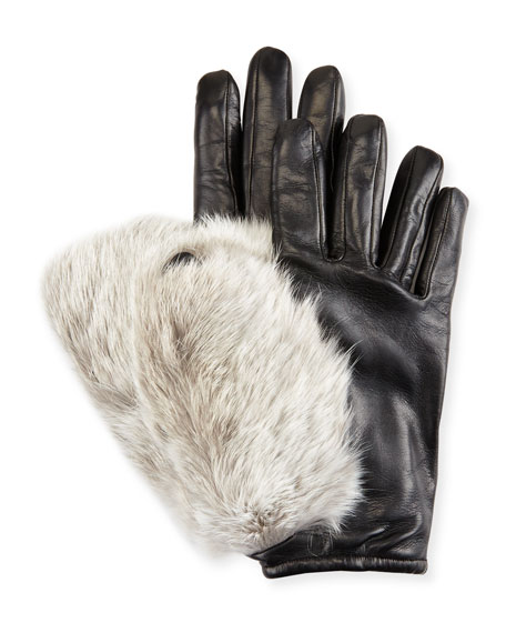 Imoni Leather & Rabbit Fur Gloves, Black