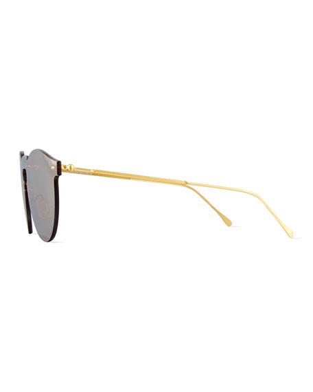 Leonard Mirrored Mask Sunglasses, Bronze