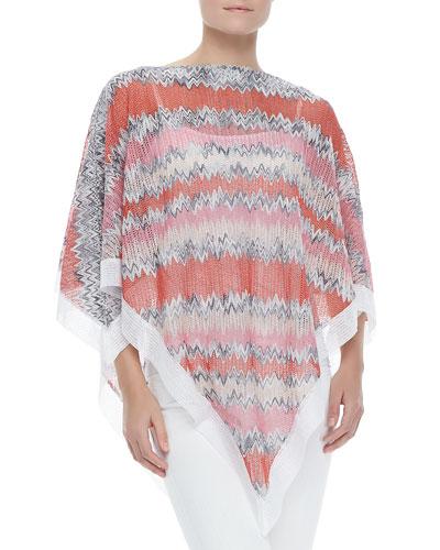 Zigzag-Knit Poncho with White Trim