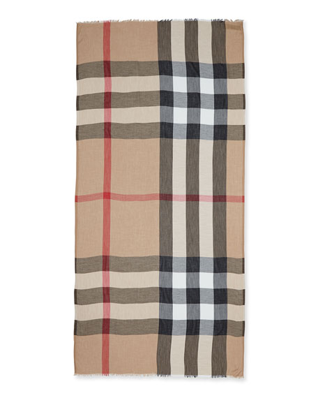 Sheer Mega Check Scarf, Camel