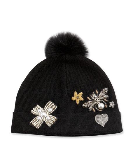 Pearl Capsule Fur-Pompom Embellished Beanie, Black