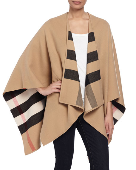 Burberry Charlotte Check-To-Solid Wool Cape, Camel 5c5ac5f709a
