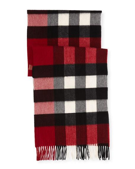 Half Mega Check Cashmere Scarf, Parade Red