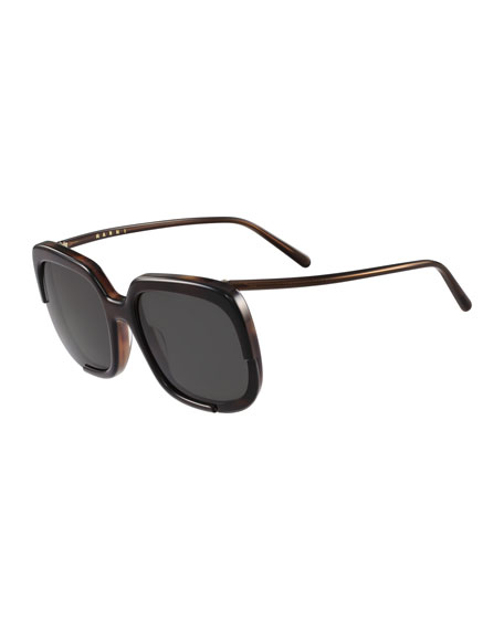 Square Cutout Monochromatic Sunglasses, Black Havana