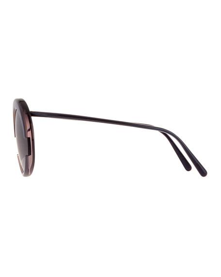 Round Monochromatic Cutout Sunglasses
