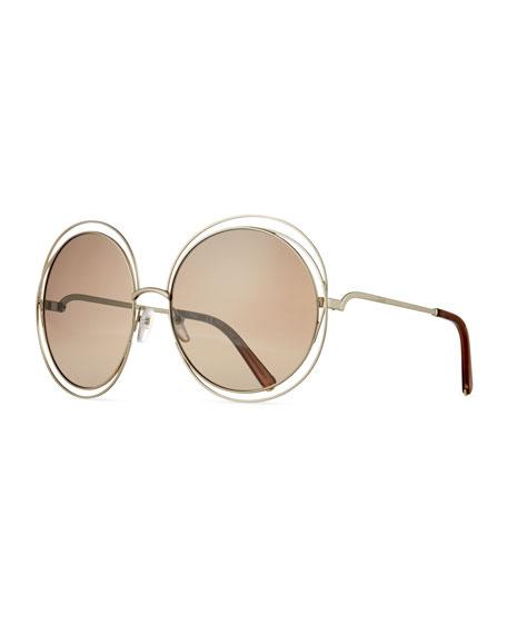 Chloe Carlina Trimmed Round Sunglasses, Gold/Dark Brown
