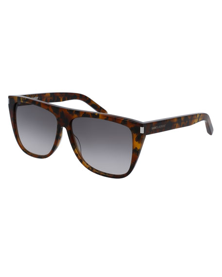 Gradient Flat-Top Sunglasses, Brown