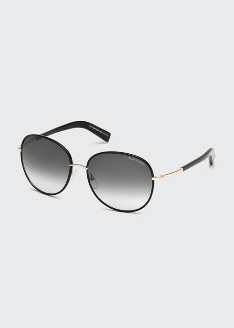 Georgia Gradient Round Sunglasses, Black