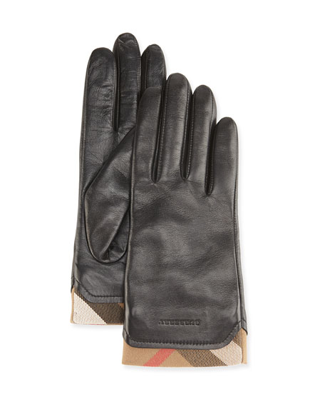 Burberry Tech Leather Gloves with Check Trim, Black