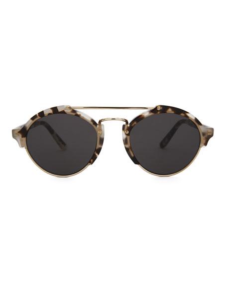 Milan II Matte Monochromatic Round Sunglasses