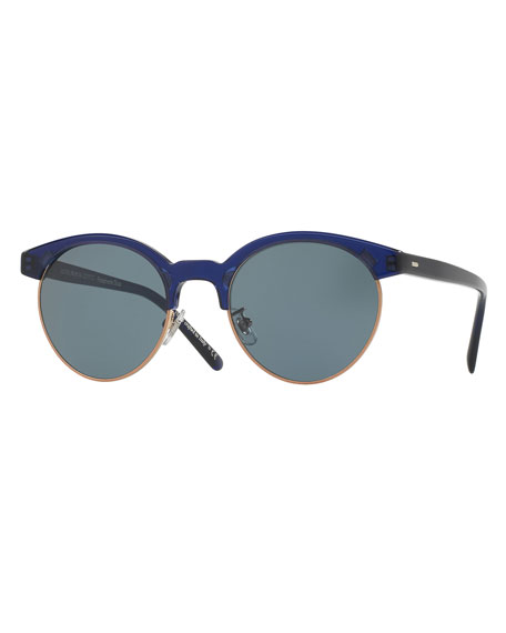 Ezelle Monochromatic Semi-Rimless Sunglasses, Dark Blue