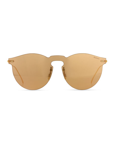 Leonard Mask Sunglasses, Rose Gold