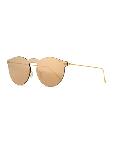 Illesteva Leonard Mask Sunglasses, Rose Gold