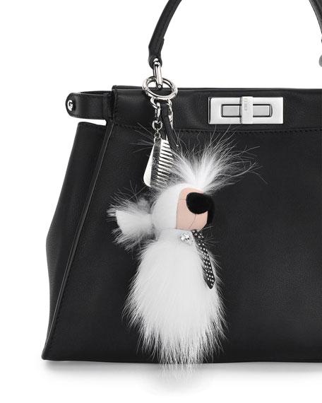 Karlito Mini Charm for Handbag w/Comb, White