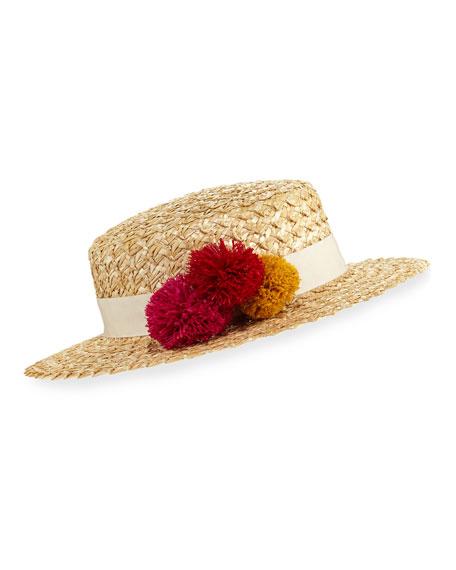Brigitte Straw Boater Hat, Nude