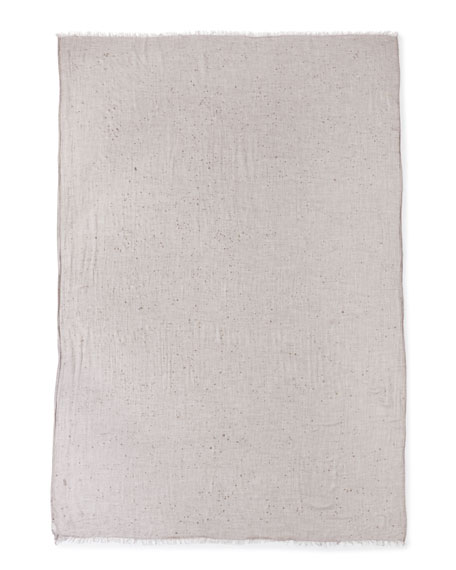 Rugiada Lightweight Metallic Splatter Scarf, Light Gray