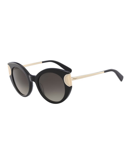 Salvatore Ferragamo Signature Colorblock Cat-Eye Sunglasses