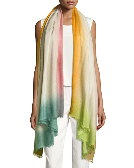 Summer Sunset Cashmere-Blend Stole, Light Gray