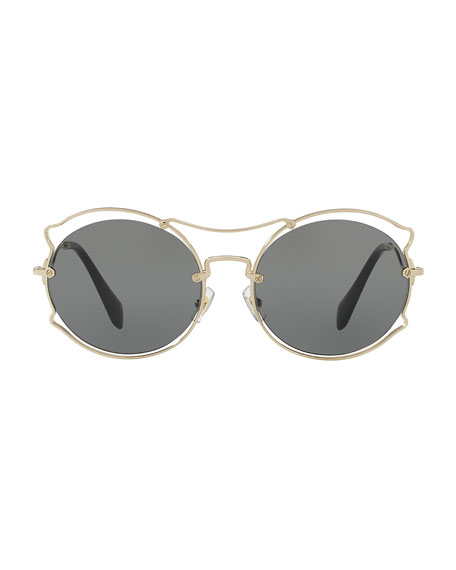 Waved Monochromatic Open-Inset Sunglasses