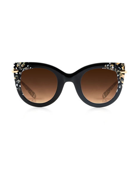 Laveau Cat-Eye Sunglasses, Brown Tortoise