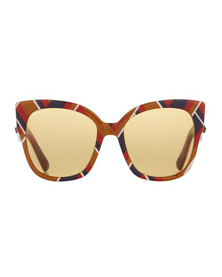 Special Edition Chevron Oversized Square Sunglasses, Multicolor