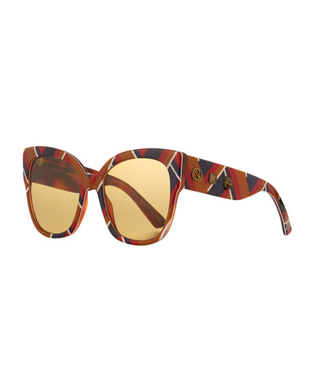 Special Edition Chevron Oversized Square Sunglasses, Multicolor