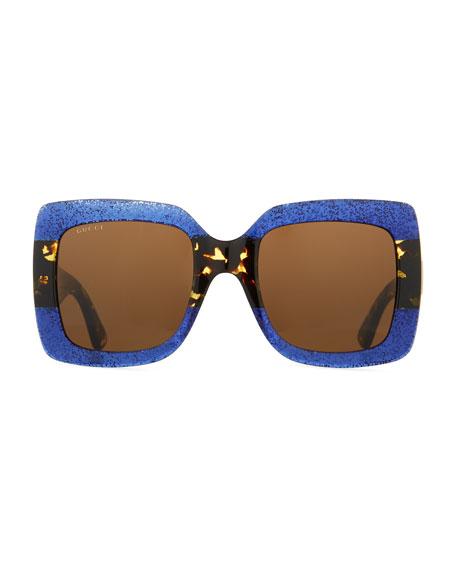 Glittered Gradient Oversized Square Sunglasses, Blue/Tortoise