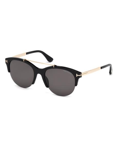 TOM FORD Adrenne Monochromatic Semi-Rimless Brow-Bar Sunglasses,