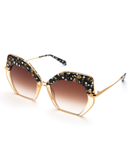 Octavia Geometric Two-Tone Sunglasses, Pink