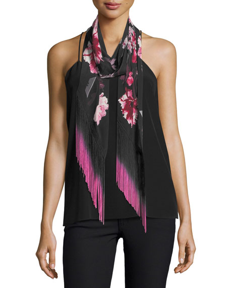 Floral Classic Skinny Fringe Silk Scarf