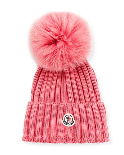 Ribbed-Knit Beanie Hat w/Fur Pompom  Black