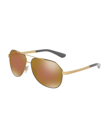 Iridescent Metal Aviator Sunglasses, Gray