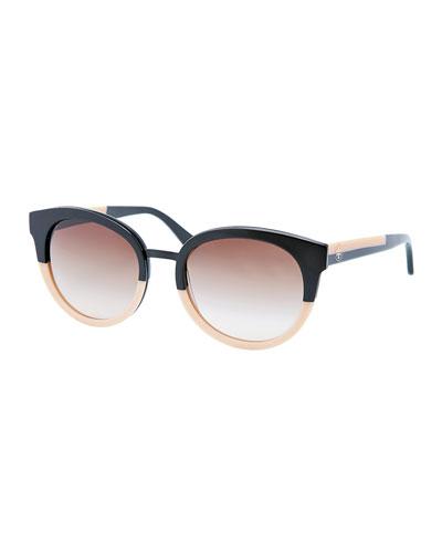 Eclectic Two-Tone Sunglasses, Black/Cream