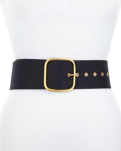Wide Wrap Belt with Golden Buckle, Navy