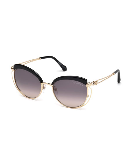 Capped Metal Butterfly Sunglasses, Rose Gold