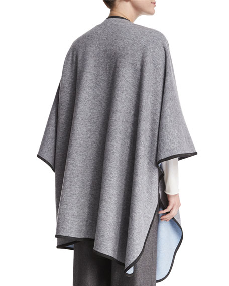 Reversible Cashmere-Blend Cape, Pebble Gray/Blue