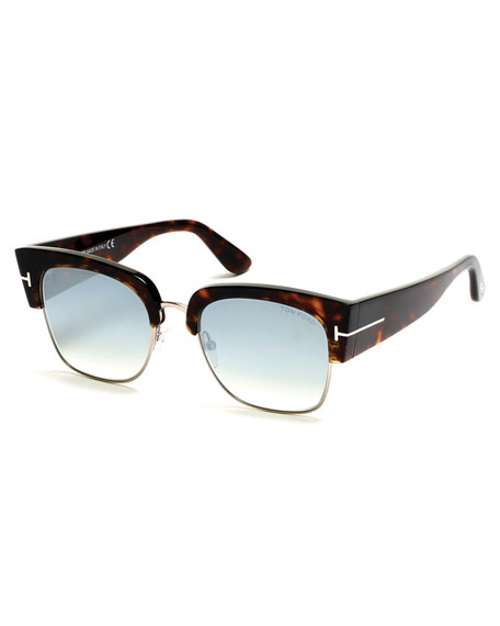 Dakota Semi-Rimless Cat-Eye Flash Sunglasses, Turquoise/Dark Havana